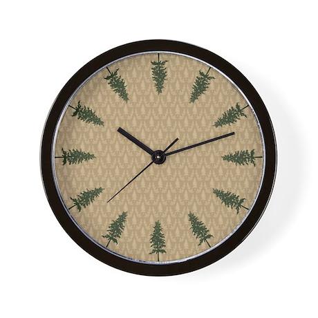 Pine Tree Damask Wall Clock