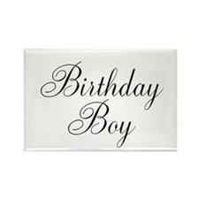 Birthday Boy Black Script Rectangle Magnet