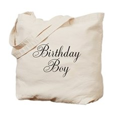 Birthday Boy Black Script Tote Bag