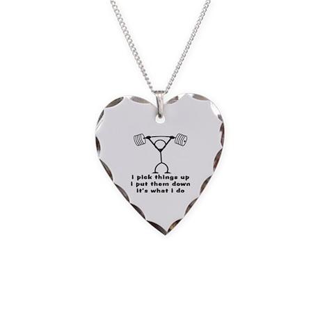 Stick Figure Body Builder Necklace Heart Charm