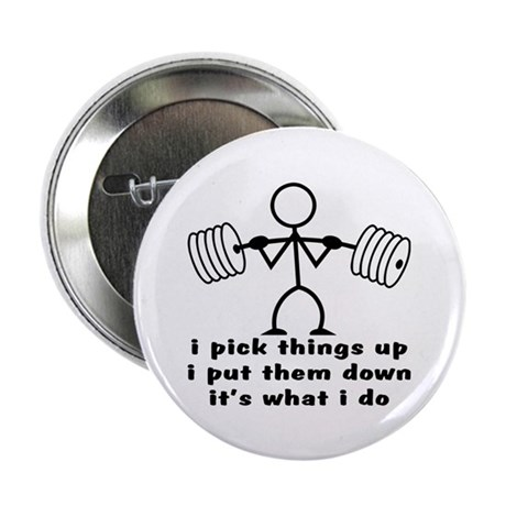 "Stick Figure Body Builder 2.25"" Button (10 pack)"