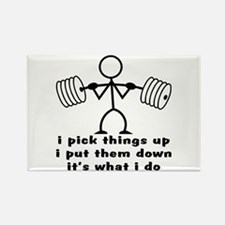 Stick Figure Body Builder Rectangle Magnet