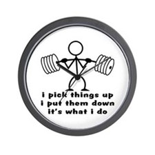 Stick Figure Body Builder Wall Clock