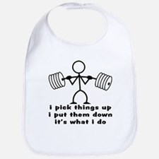 Stick Figure Body Builder Bib
