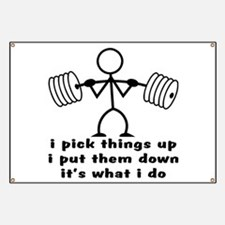 Stick Figure Body Builder Banner