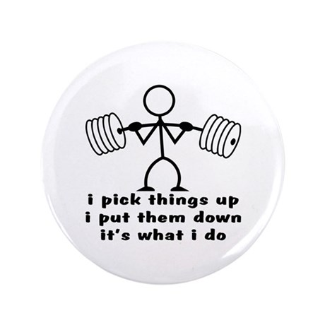 "Stick Figure Body Builder 3.5"" Button (100 pack)"