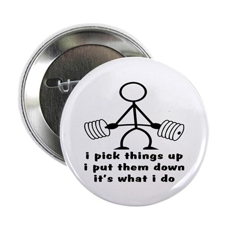 "Stick Figure Body Builder 2.25"" Button (100 pack)"