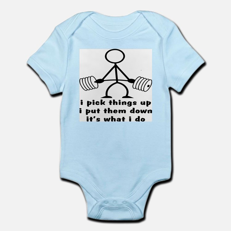 Stick Figure Body Builder Infant Bodysuit