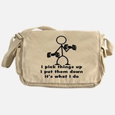Stick Figure Body Builder Messenger Bag