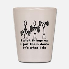 Stick Figure Body Builders Shot Glass