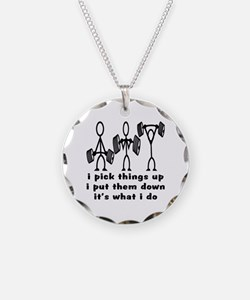 Stick Figure Body Builders Necklace