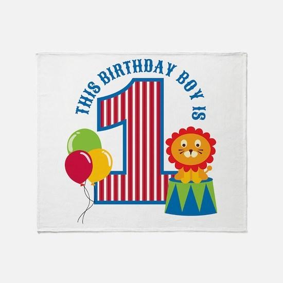 Circus 1st Birthday Throw Blanket