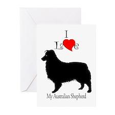 Australian Shepherd Dog Greeting Cards (Package of