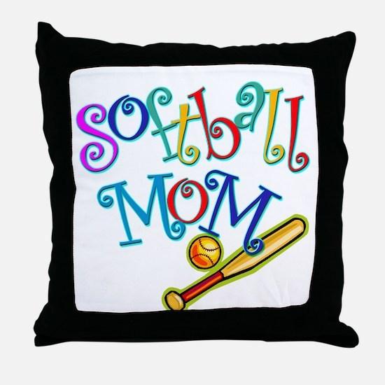 Softball Mom II Throw Pillow