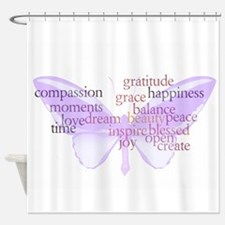 Peace and Gratitude Butterfly Shower Curtain