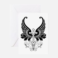 CROSS WITH WINGS Greeting Card
