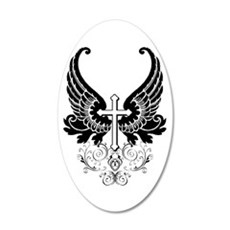 CROSS WITH WINGS 38.5 x 24.5 Oval Wall Peel