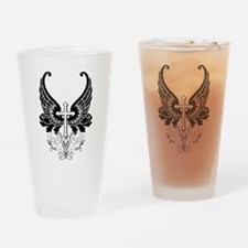 CROSS WITH WINGS Drinking Glass
