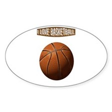 I Love Basketball Oval Decal