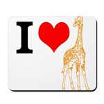 I Love Giraffes Mousepad