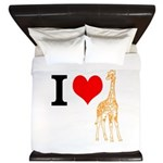 I Love Giraffes King Duvet