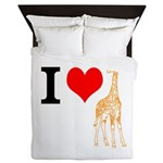 I Love Giraffes Queen Duvet