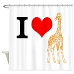 I Love Giraffes Shower Curtain