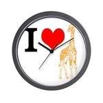 I Love Giraffes Wall Clock
