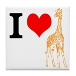 I Love Giraffes Tile Coaster
