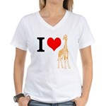 I Love Giraffes Women's V-Neck T-Shirt