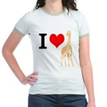 I Love Giraffes Jr. Ringer T-Shirt