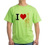 I Love Giraffes Green T-Shirt