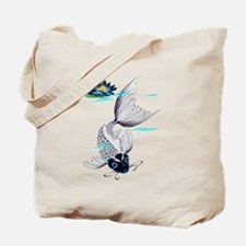 White Koi-Blue Lily Tote Bag