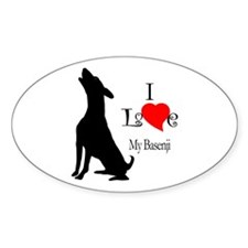 Basenji Oval Stickers