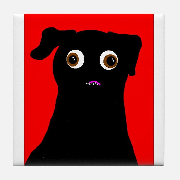 Red Pug Tile Coaster