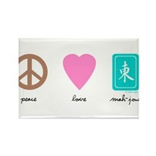 Peace, Love, Mah-Jong Rectangle Magnet (10 pack)