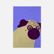 Blue Pug Rectangle Magnet