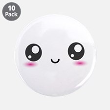 """Japanese Anime Smiley 3.5"""" Button (10 pack)"""