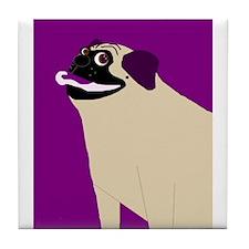 Purple Pug Tile Coaster