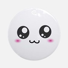 Japanese Emoticon Emoji Smile Ornament (Round)