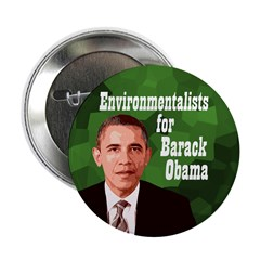 Environmentalists for Barack Obama button