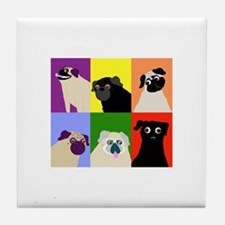 Rainbow Pugs Logo Tile Coaster