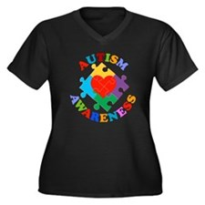 Autism Aware Women's Plus Size V-Neck Dark T-Shirt