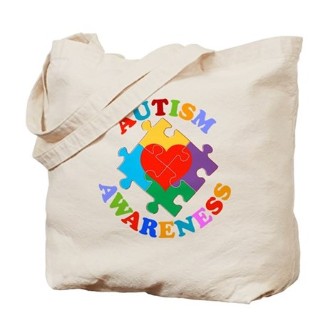 Autism Awareness Heart Tote Bag