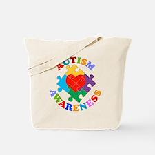 Autism Awareness Heart Tote Bag