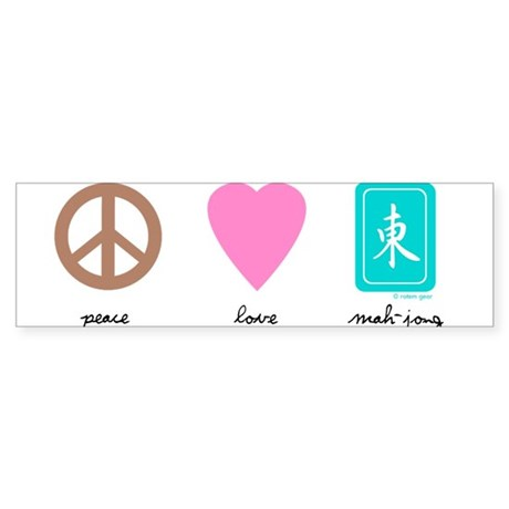 Peace Love Mahjong Bumper Sticker