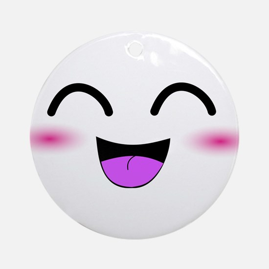 Laughing Kawaii Smiley Ornament (Round)