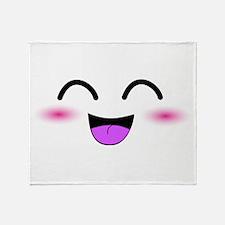 Laughing Kawaii Smiley Throw Blanket