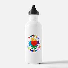 Autism Awareness Heart Water Bottle