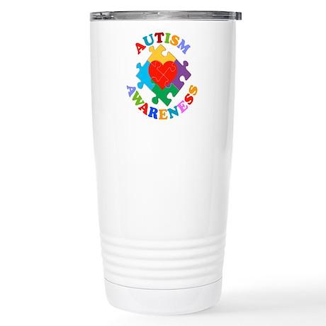 Autism Awareness Heart Stainless Steel Travel Mug